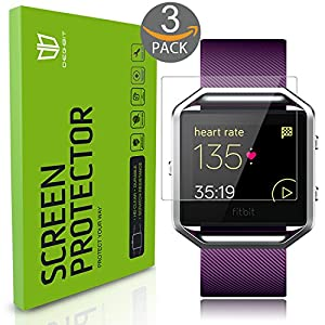 Fitbit Blaze Screen Protector [Full coverage], DEGBIT® [3-Pack] Fitbit Blaze Tempered Glass Screen Protector [0.26mm 2.5D, 9H Hardness] Ultra Clear /Anti-Scratch/Bubble-Free Shield-Lifetime Warranty