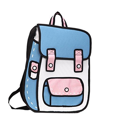 Flyfish 3D Jump Stil 2D Zeichnung aus Cartoon Papier Comic Rucksack Schule Umhängetasche (B)