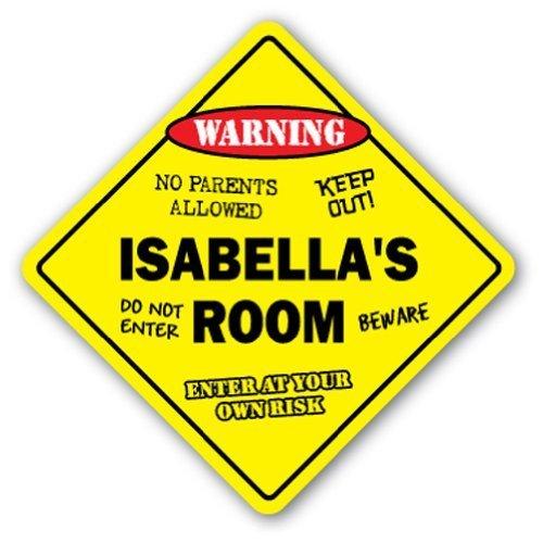Schlafzimmer Von Isabella (Neuheit Geschenk Isabella 's Room Schild Kinder Schlafzimmer Decor Tür Kinder Namen Junge Mädchen Geschenk Yard Dekorative Aluminium Metall Türschild für Schlafzimmer, Büros)