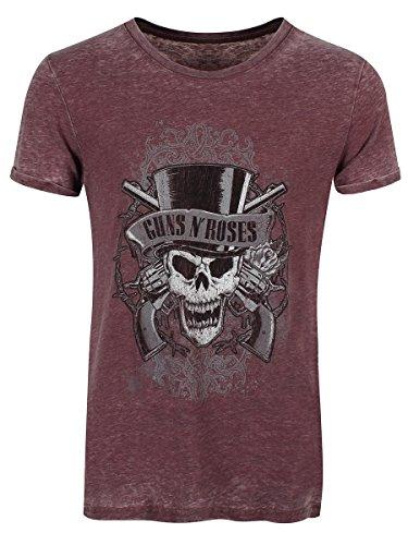 Guns N' Roses T-Shirt Faded Skull Burnout da uomo in bordeaux