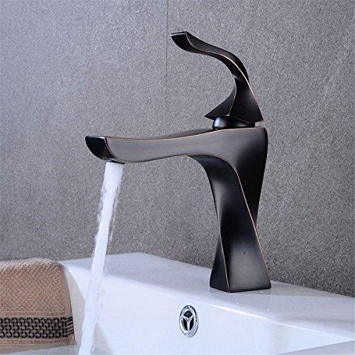BadezimmerKüchenarmatur Retro schwarzer Bassinhahn heißes und kaltes Wasser | bad eitelkeit einlochmontage wasserhahn | Waschbecken Wasserhahn NGRJG kümmert sich nur um Ihre Gesundheit -