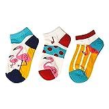 Damen Sneaker Socken | (3 Paar) | Kurze Bunte Flamingo Motive | Mehrfarbig | (Größe 35-40)