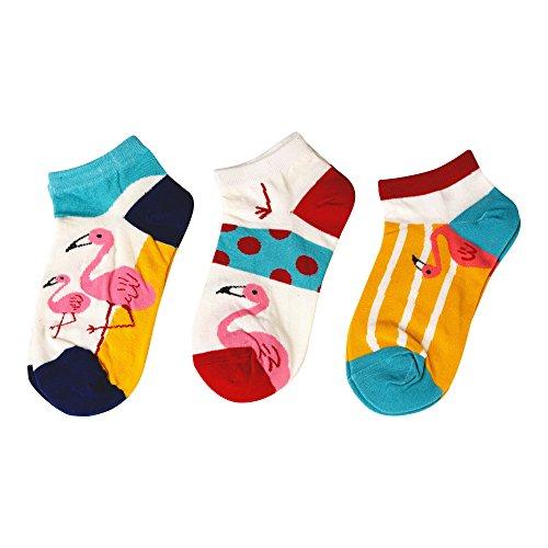 MarylinDreams Damen Sneaker Socken | (3 Paar) | Kurze Bunte Flamingo Motive | Mehrfarbig | (Größe 35-40) - Erwachsene Bettwäsche
