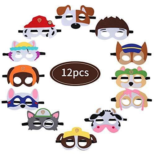 Fieltro Máscaras, 12 Piezas Patrulla Canina Máscaras Máscaras de Niños Fiesta Máscaras Animales Cumpleaños para Navidad Halloween Cumpleaños Cosplay