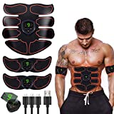 SHENGMI Abs Trainer Abdominal Belt, EMS Muscle Stimulator with LCD Display & USB Rechargeable,Ab Belt Toning Gym Workout Machine (White)