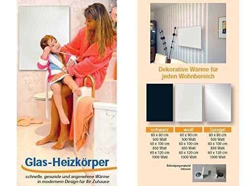 Infrarot Heizkörper Glasheizkörper in 3 Größen 60x80cm, 60x100cm oder 60x120cm - weiß, schwarz oder Spiegel - sehr hochwertige deutsche Produktion, Größe:Spiegel 60x100cm
