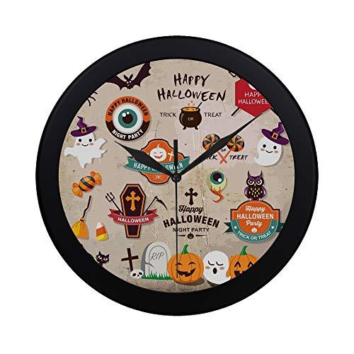 �ckliche Halloween-Design-Elemente Halloween-Design-Wanduhr Indoor-Nicht-tickender stiller Quarz-ruhige Bewegung-Wand-Clcok für Büro, Badezimmer, Wohnzimmer dekorativ 9,65 Zoll ()