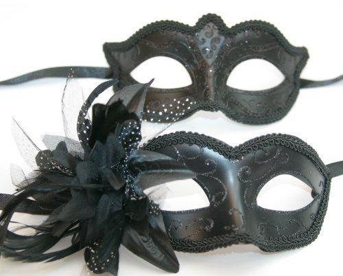 son-et-sien-deux-coordonnee-venitien-masque-de-mascarade-partie-des-yeux-masque-noire