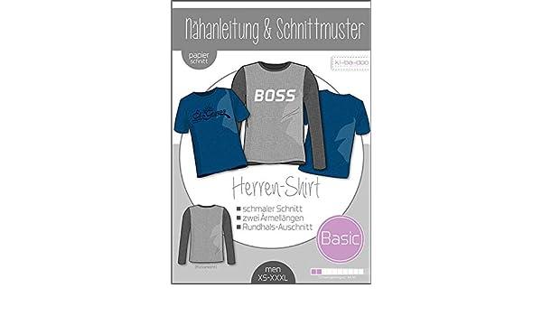 2442f70c9ac627 Papierschnittmuster Basic Shirt Herren Schnittmuster und Anleitung als  Broschüre Größe XS - XXXL  Amazon.de  Küche   Haushalt