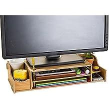 Natamo Computer Monitor Riser proteggere cervicale in legno Laptop Stand, colore di legno
