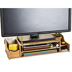 Computer Monitor Stand Office Supplies DIY Wood Stand 2 Adjustable Shelves Desktop Stand Organizer w/Pen Slots, Document Sorter Shelf Letter Tray File Holder Paper Storage,Wood color