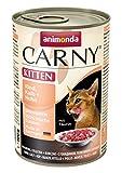 animonda Carny Kitten Katzenfutter, Nassfutter für junge Katzen, aus Rind, Kalb + Huhn (6 x 400 g)