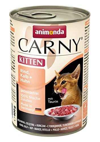 Animonda Carny Kitten Katzenfutter, Nassfutter für Junge Katzen, aus Rind, Kalb + Huhn (6 x 200 g)