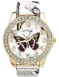 Reloj de pulsera de cuarzo de las mujeres JSDDE de la flor de la hoja de patrón de la mariposa y la flora-impreso blanco de la correa de la PU