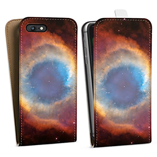 Apple iPhone X Silikon Hülle Case Schutzhülle Space Galaxy Helix Nebel Downflip Tasche weiß