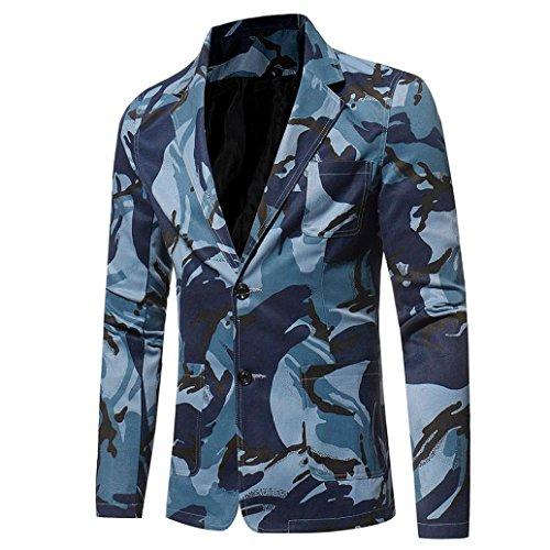 Herren Jacke Longra Herren Casual Slim Fit Anzug Hip Hop Urban Basic Camouflage Print Blazer Jacke Männer Softshelljacken Kurzmäntel Outwear (3XL, Blue)