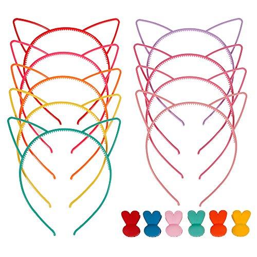 Lictin 15 EN 1 Gatos oreja diadema de plástico diademas con orejas Headband Bow Headbands Party Headwear para mujeres niñas