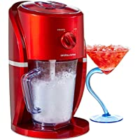 Andrew James Slushie Maker Ice Crusher Shaver Electric Machine with Blender Stirrer Mix Jug - 2 Coarseness Settings - Retro Red Design - Great for Snow Cones Cocktails Smoothies Etc - 25W