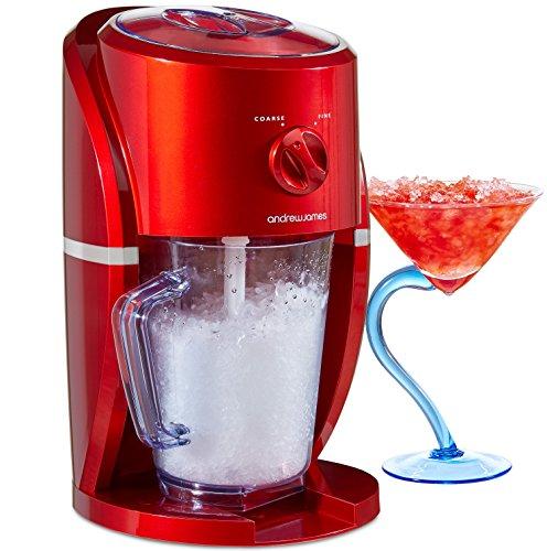 Andrew James Ice Crusher - Elektrische Eiszerkleinermaschine - ideal für Smoothies, Cocktails und Slushies - 25 W - 1 Liter Fassungsvermögen - Retro-Design rot