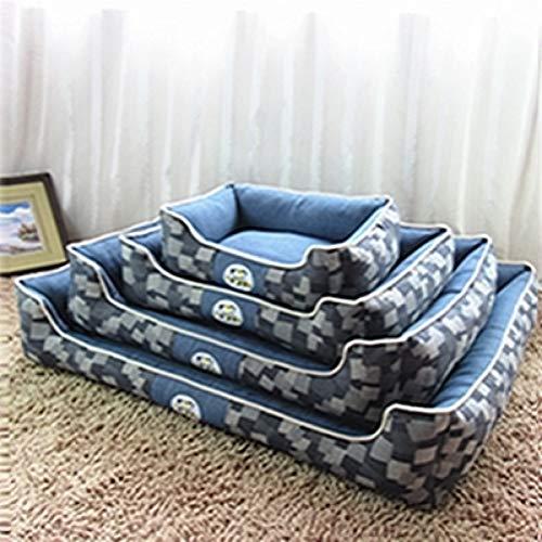 New Blue Denim Hundebett Abnehmbare und waschbar Haustier Haus Puppy Cat Mat Medium Large Hundehütte Feuchtigkeits Matte Test