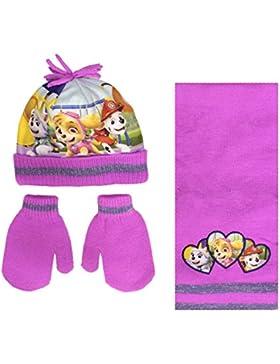 Nickelodeon - Set de bufanda, gorro y guantes - para niño Red-Violet Pink 4-8 Años