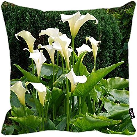 i FaMuRay Federa Cuscino, White Callas in the Garden Design Zippered Cushion, 18x18 inches