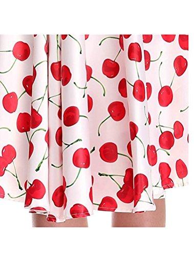MatchLife Femme Vintage Imprimé Taille Empire Robe de Soirée Blance