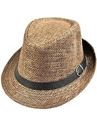 Fletion Unisex Uomini Donne Fedora Trilby Cappelli Bowler Jazz Cappelli di  paglia berretto Cappello Panama 64b2b047bb03
