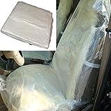 100 X Plástico blanco desechable Fundas de asiento de coche Protector Protector de vehículo Mecánico Valet Cubierta a prueba de humedad Cubierta impermeable Anti-niño Paso sobre la cubierta de asiento