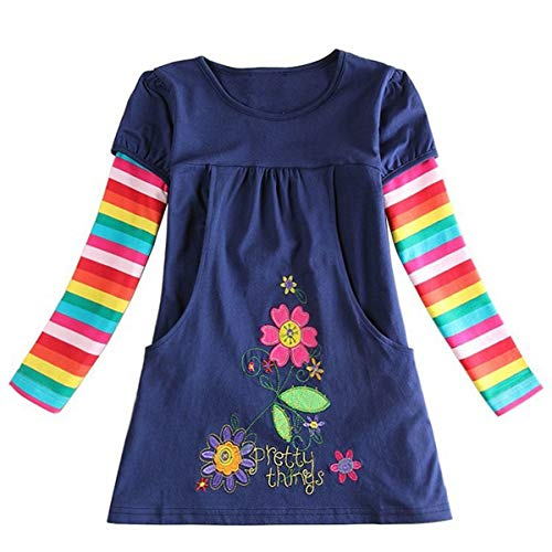 (Paisdola Little Girls Long Sleeve Dress Cotton Embroidery Rainbow Long Sleeve Casual Cute Dress (122(6-7 Jahr), Blau))