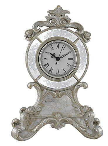 Filigran Antik Silber und Weiß Tisch Kaminuhr Barock Vintage Stil
