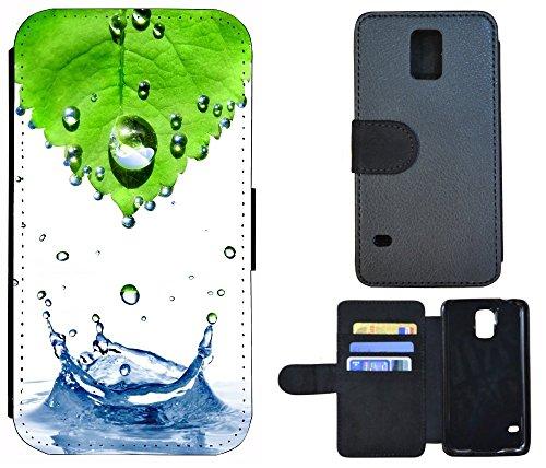 Flip Cover Schutz Hülle Handy Tasche Etui Case für (Apple iPhone 5 / 5s, 1011 Tige Schwarz Weiß Feuer) 1015 Abstract Grün Blau Weiß