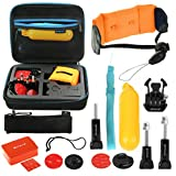 eCommerceTek Sports Kit d'Accessoires pour GoPro Hero 5/4/3+/3/2/1 (poignée, éponge flottante, boucle de relâchement rapide, support de planche de surf, poignet flottant, sangle de sécurité, sac de rangement)