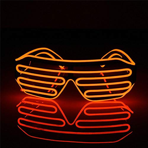 E-CHENG LED Glow EL Glasses Shades Light Up Flashing Blink Sunglasses Bar Party Rave Hot Flashing Shutter Neon Rave Glasses (Red)