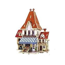 Creative Assemble Puzzle Toys Child Early Education Wooden 3D Puzzle House France Flower Shop