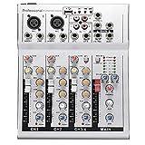 lzndeal Mini Table de mixage Audio avec amplificateur 48V de Console de mixage Audio USB DJ 4 pour Le Karaoke KTV Party