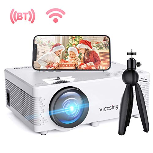 Mini Beamer, VicTsing WiFi Beamer Full HD 4500 Lumen Bluetooth LED Projektor, 1080P HD 170 '' Display 50000 Stunden, Wireless Video Beamer Kompatibel mit Smartphone, TV Stick, HDMI, VGA, SD, AV, USB