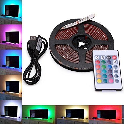 LED Tira de TV, AVAWAY 3M USB Tira de LED Luz Ambiente RGB 5050 + Mando Control Remoto 24 Botones, Cable de USB para Decoración Hogar - Actualizada