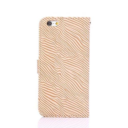 EKINHUI Case Cover Premium Zebra Texture PU Ledertasche Brieftasche Pouch Style Case mit Kickstand und Card Slots für iPhone 6 Plus & 6s Plus ( Color : Black ) Yellow
