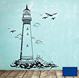 Wandtattoo Wandaufkleber Leuchtturm lighthouse Meer maritim M1465 - ausgewählte Farbe: *Blau* ausgewählte Größe:*L 72cm breit x 100cm hoch