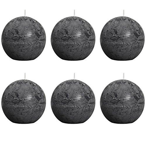 6 Kugelkerzen Rustic 80 mm, anthrazit
