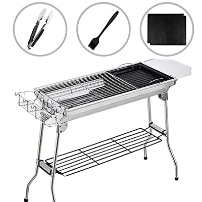 Gifort Portable Grill, BBQ Holzkohlegrill Tragbar Mini Grill mit Rostfreier Stahl BBQ Drahtgeflecht Faltbare Mini Holzkohlegrill BBQ für Outdoor Garten Camping Party Beach Barbecue