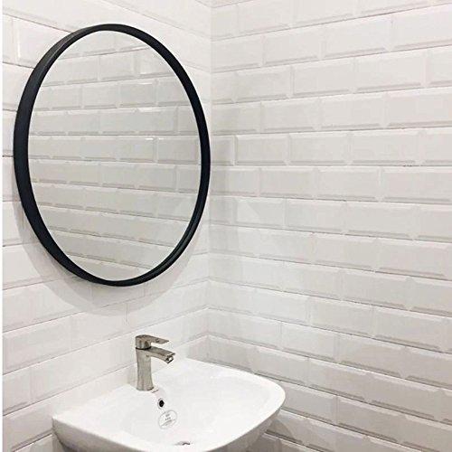 Mirror LUYIASI- Espejo de Pared Redondo Europeo Espejo de baño Espejo de baño Espejo Decorativo Espejo de vestidor (Color : Negro, Tamaño : Diameter:50cm)
