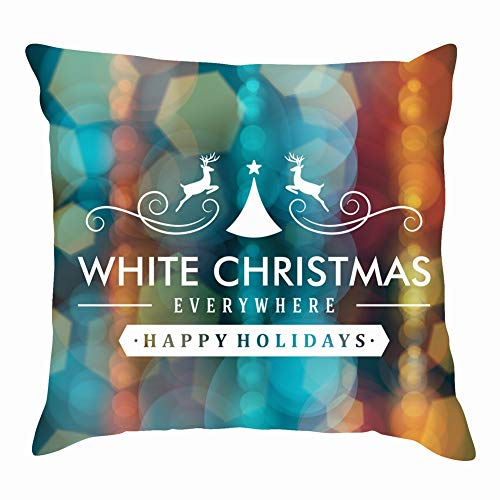 tuyi Merry Christmas Message Light snowflakesvintage Throw Pillow Covers Cotton Linen Cushion Cover Cases Pillowcases Sofa Home Decor 18