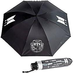 Skisneostype BTS - Parasol Plegable para niños, Resistente al Viento, Compacto, Plegable, para Viaje, Parasol, Tres Pliegues, Peso Ligero Black 2