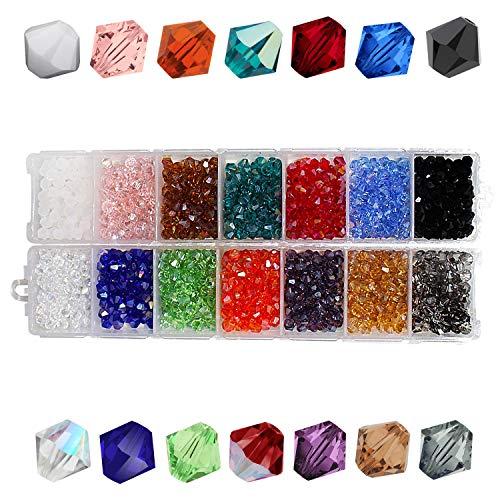 Bicone Perlen (1400 Stk) - 4mm Facettierte Tschechische Kristall Glasperlen Edelsteine im Organizer mit 14 Fächern - Acryl Bastelperlen für Armbänder, Halsketten, Schlüsselanhänger, - Tschechische Kostüm