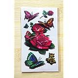 GYMNLJY Etiquetas engomadas del tatuaje Cuerpo impermeable pintura 3D mariposa Rose Tattoo tatuaje pegatinas removibles tatuajes temporales (paquete de 20 hojas) , 10.5*6cm