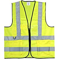 Adult Yellow Hi-Vis Reflective Zip-Up Safety Vest with Pocket (1x)