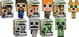 Funko POP! Minecraft: Steve + Alex + Ocelot + Skeleton + Creeper – Stylized Video Game Vinyl Figure Set NEW