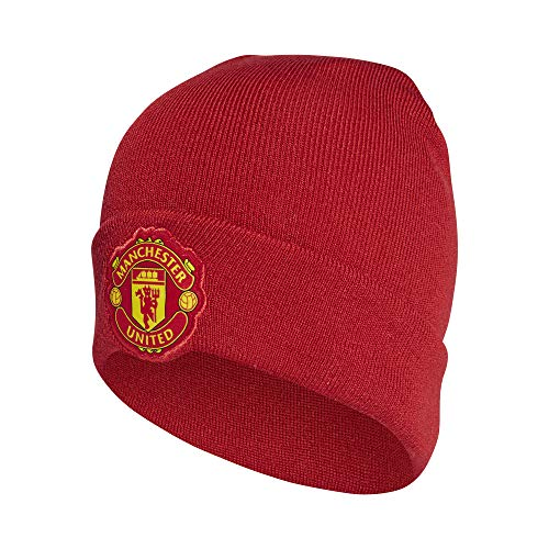 adidas Manchester United 3S Woolie Home Mütze, real red/Black, OSFM Stripe Short Beanie